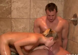 Glamorous mart with perfect body sucks off client far the shower!