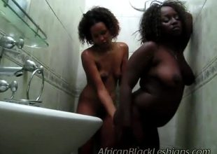 Naughty African hotties were excited in shower