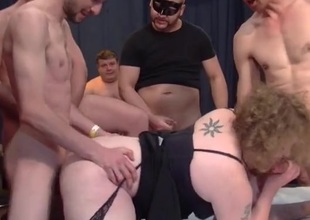 Chubby wench screwed by strangers in a wild gangbang
