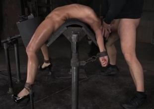 Flexible girl bent over backwards and element fucked