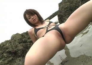 Skimpy stitch swimsuit on hot Asian Kana Kawashima