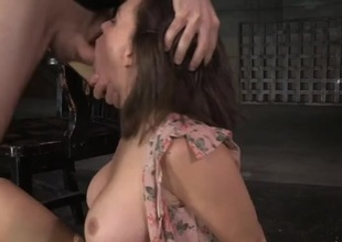 Bound to a chair and fucked in her wet mouth