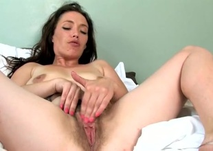 Naughty shaggy bush atop a solo mom rubbing her cunt