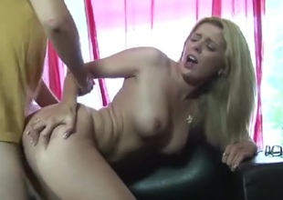 Babe bounces on a knob with her perfect cunt