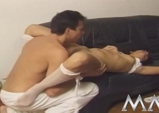 Hottie pees in her hose in the lead they fuck her