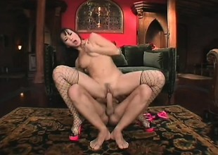 Luscious Asian girl nearly fishnet stockings takes a permanent dick nearly her ass