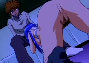 X-rated haired anime babe screwed in her taut pussy