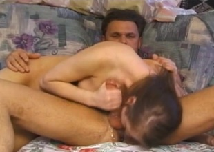 Crazy sloppy blowjob from a slut that rides his locate