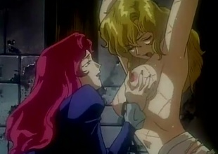 Shackled hentai hotty abused to a dungeon