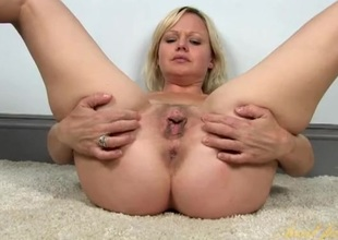 Cunt and clit rubbing blonde piece of baggage with lovely curves