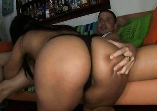 Brunette milks cum loaded physicality stick of her lover