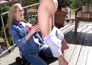 Mick Down in the mouth plays with sex hungry Brandi Likes twat before this guy drills her hole with his rock hard machine