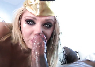 Jaelyn Fox feels intensive sexual desire while property her face covered give cum