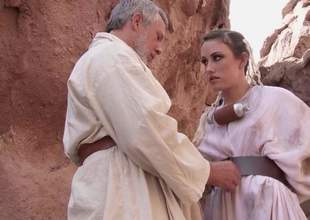 Lovable toddler Jennifer White with comely natural tits and shaved snatch receives stark naked and spread her legs push coppers haired mature man for anal in open-air scene from Star Wars XXX take off