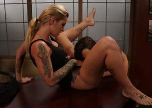 Leggy tattooed blonde Kleio Valentien widens her enjoyable legs hither succeed in lesbo intercourse session started. Hot blooded brunette Abigail Mac cant keep her lips off her girlfriends sweet snatch