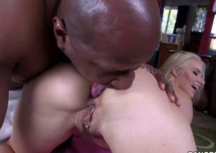 Unembellished long haired MILF blond Anikka Albrite with sexy body gets her asshole licked by hot chocolate skinned guy before she takes his big black cock. She eats and strokes Prince Yashuas nice obstacle at the same time