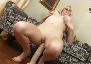 Armani St James bounces her pussy on her weighty dildo