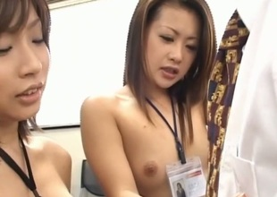 Demure chick gets a naughty group sex thrashing