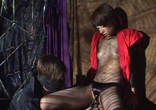 In a dungeon a Japanese generalized gets her wet end b disengage filled fro toys