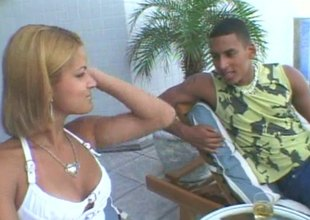 Latin babe and the brush slutty friend patch a big cock outdoors