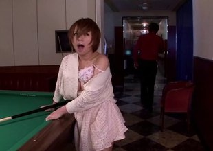 Redhead Japanese battle-axe having her muff throbbed hard in this compilation scenes