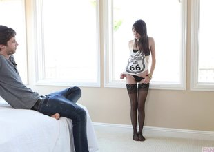 Emily Grey wears her stockings during the time that he fucks her cunt