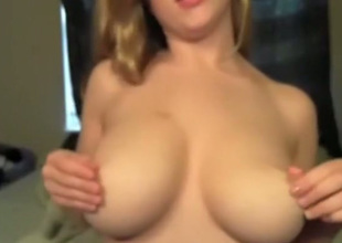 Pretty well stuck light haired webcam girlie flashes cunt coupled with plays with boobs