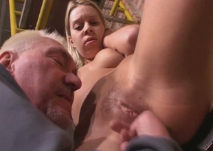 Old fart is putting his playful fingers to good use in this hot sex mistiness