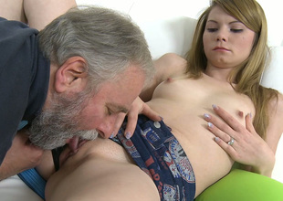 Spoiled Russian girl sucks rude dick of an old guy