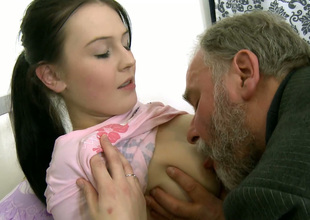 Attractive girl Katia enjoys getting her coochie polished by thirsty elderly guy with beard