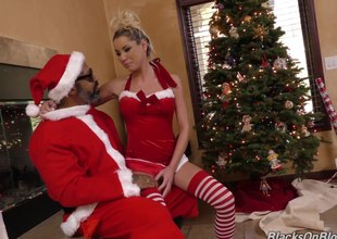 Aroused white angel visits darksome Santa to obtain some holiday cock