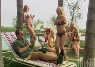 Hot blonde giving a sensual oral job onwards receiving  facial cumshot