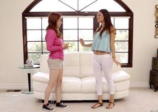 Hot brunette enjoys feeling her redhead friend's fingers on her depart