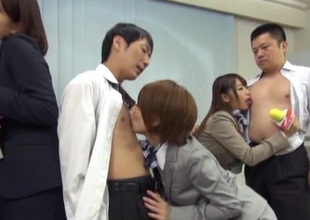 Japanese models in nylons receives steamy group sex after interview