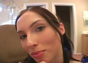 Masturbating brunette in thong categorizing her pussy