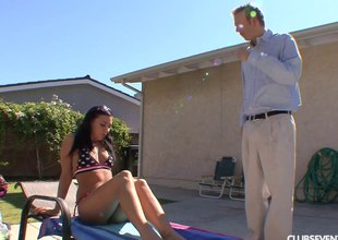 Fit, fine bikini pet seduces an older guy with an increment of fucks him