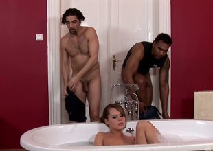 Two guys interrupt her bath and turn well supplied into a hot threesome
