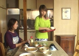 Sweet Japanese sweater girl makes love to a married dude