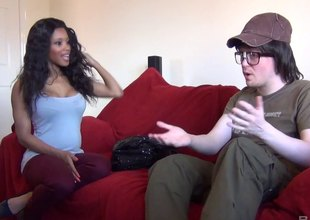 Nerdy white dude receives an amazing blowjob from a black girl
