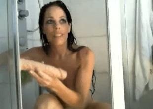 Opulent dusky brown amateur wife films herself masturbating