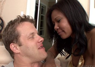 Large tit ebony venerated acquires a rough fucking wean away from a white guy