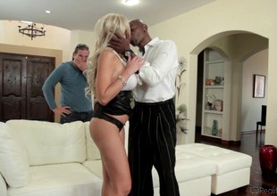 Blonde gets a mouthful of a giant black throbber alongside pov pending hardcore fucking