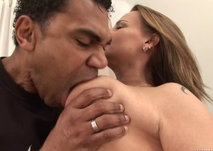 Hairy mature bitch moaning while being penetrated unconnected with a BBC