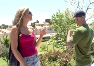 Very horny pornstar picks up a stranger for a hardcore pussy drilling