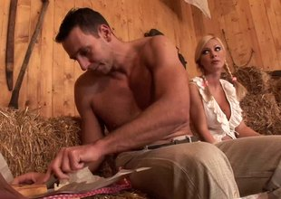 Beefy studs take turns on chunky tits blonde milf in be passed on barn