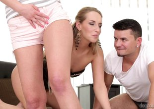 Soreness haired blonde invites her neighbor over for a succulent ffm trio