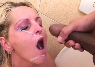 Hot blonde MILF sucking and fucking wide toilet
