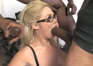 Broad in the beam chick with big boobs Katie Kox fucks a crowd of black dudes