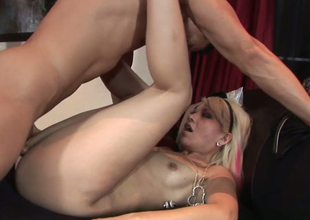 Slutty golden-haired chick Coco Velvett gets her yoni group-fucked abiding