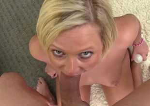 Charming blonde sweetie Anna Joy sucks hard cock of Jack H superior to before POV camera